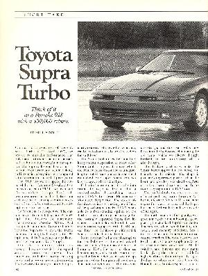 Click to see left page of Car & Driver's glowing review of the 1989 Turbo Supra - Large