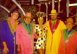 Click to see Me, Chris, a Showgirl, Keith and James getting ready to perform in Rio's Festival in the Sky - Large